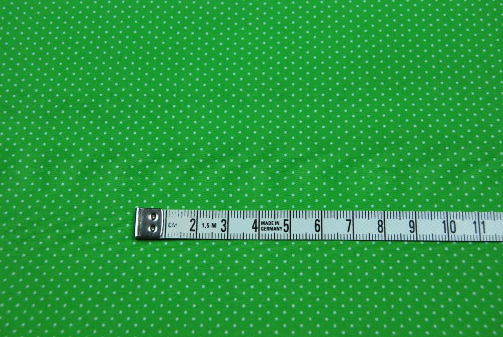 Baumwolle - Minipunkte auf Grassgruen 0 5 Meter