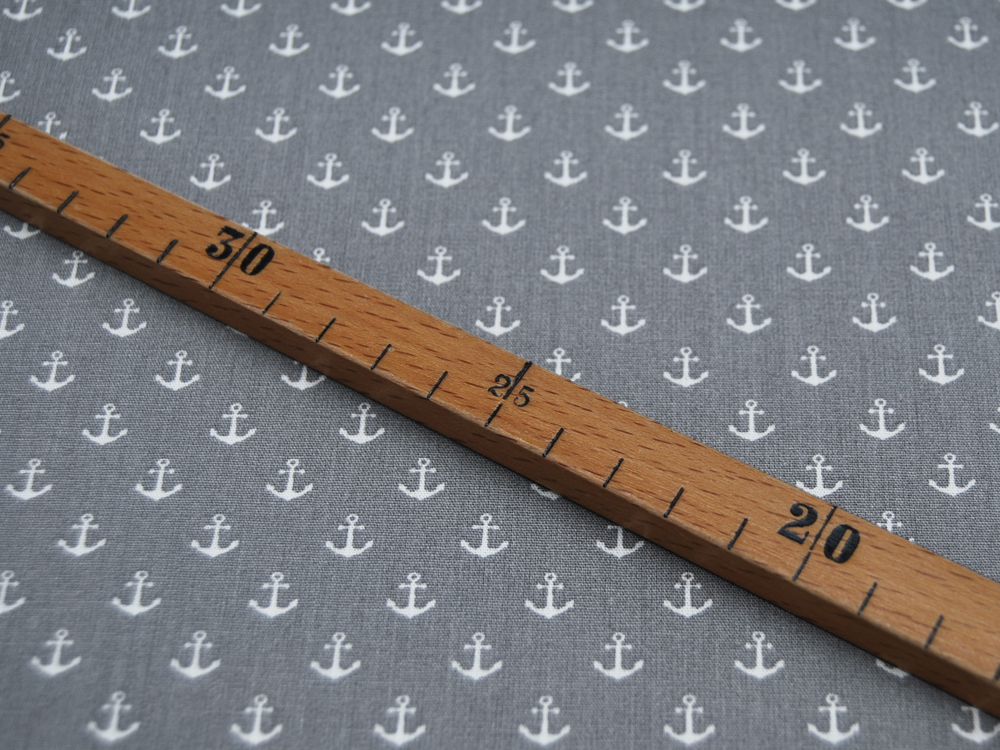 Baumwolle Mini-Anker in Weiß auf Grau