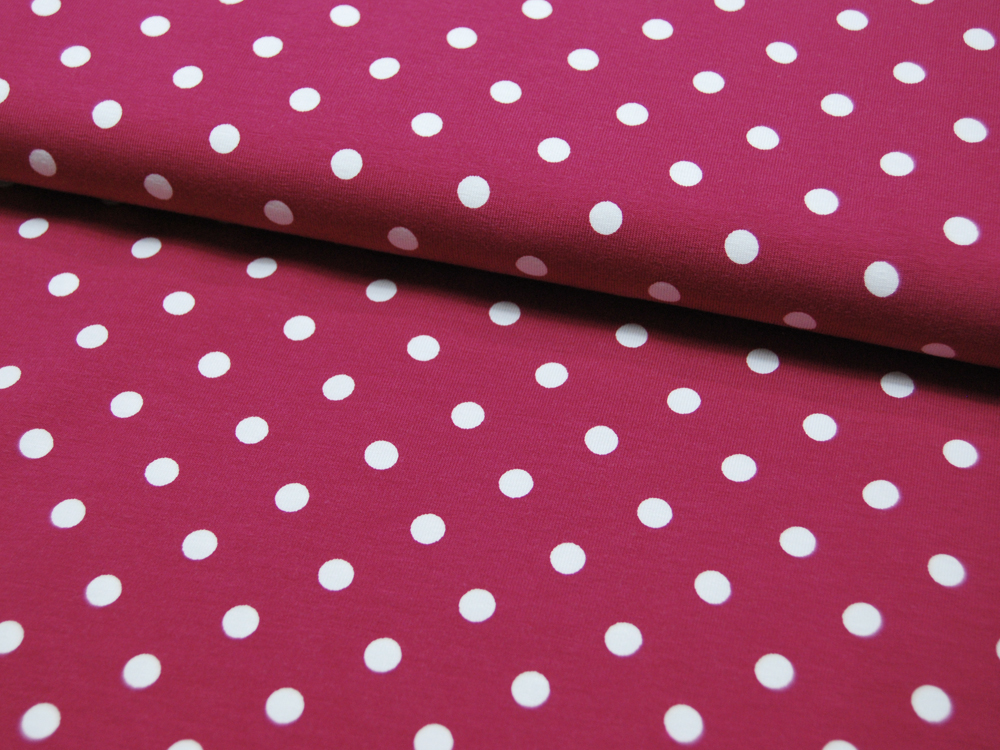 Jersey - Dots auf Dunkelpink -
