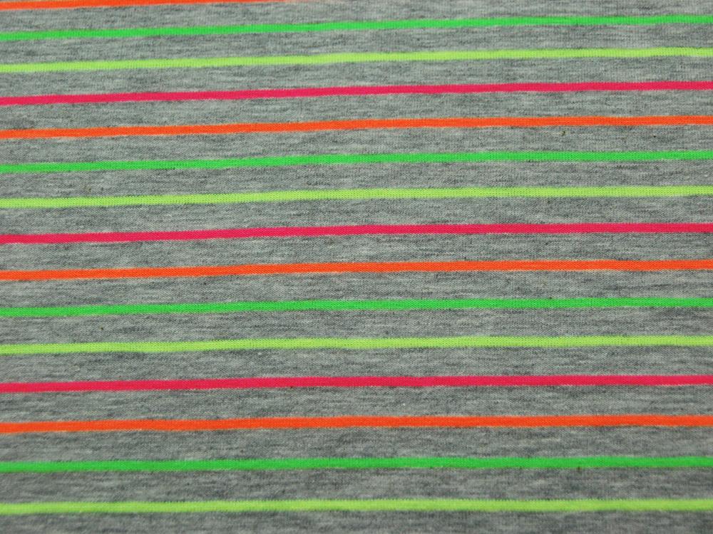 Jersey - Hellgrau meliert mit Neonfarben Streifen - 0.5 Meter - 3