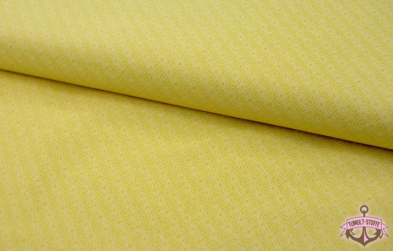 Sonnengelbe Baumwolle mit weißen Muster 0,5 m - 2