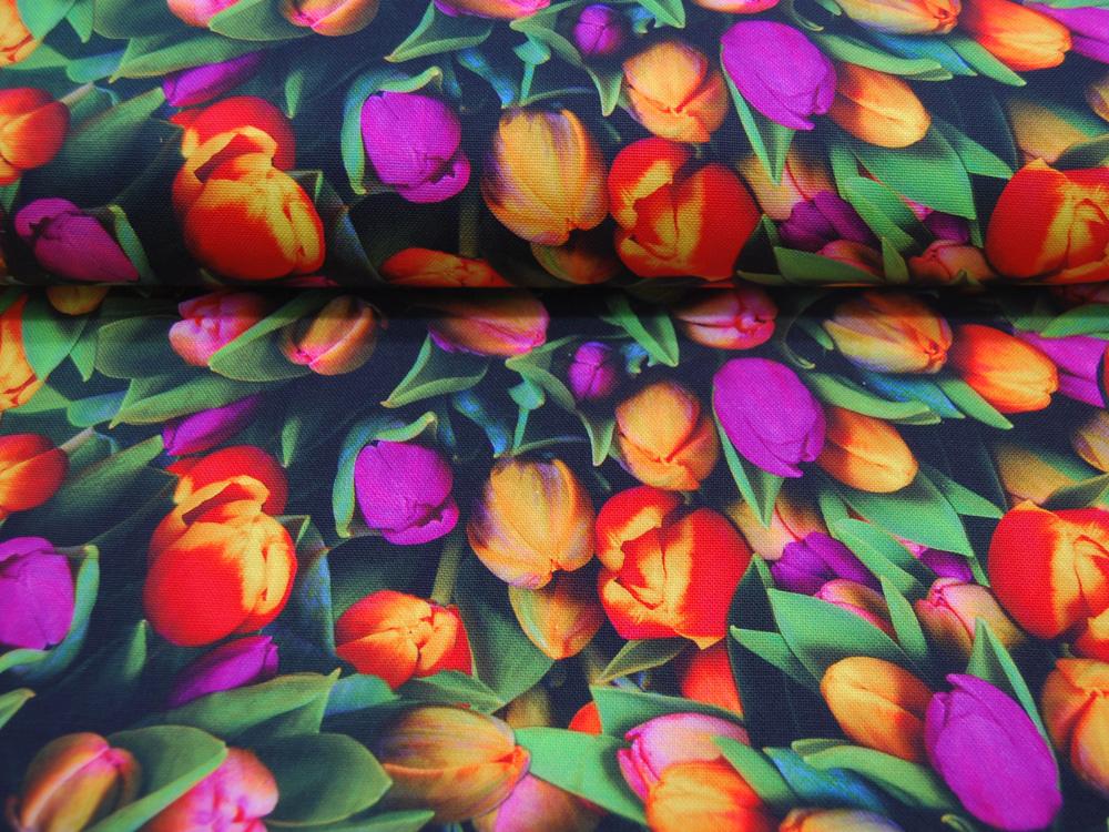Baumwolle Panama Digital Print Tulpen 05m