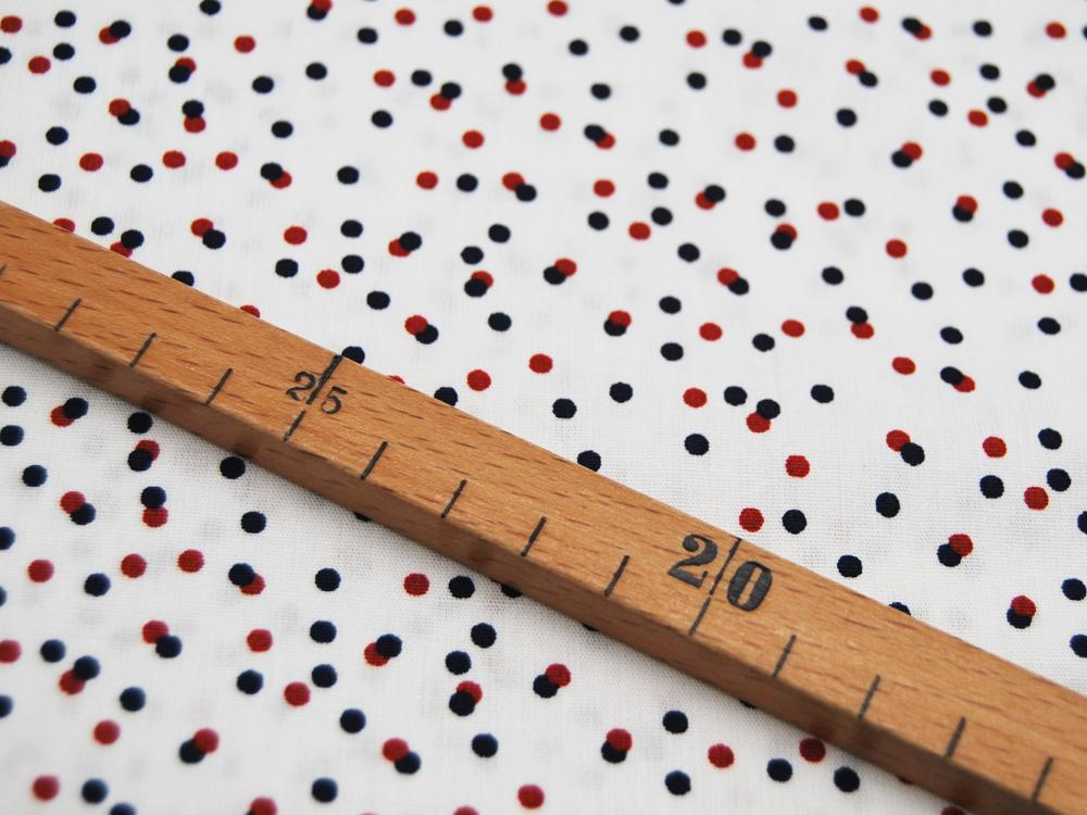 Baumwolle Dots Dunkelblau-Rote Punkte auf Weiß