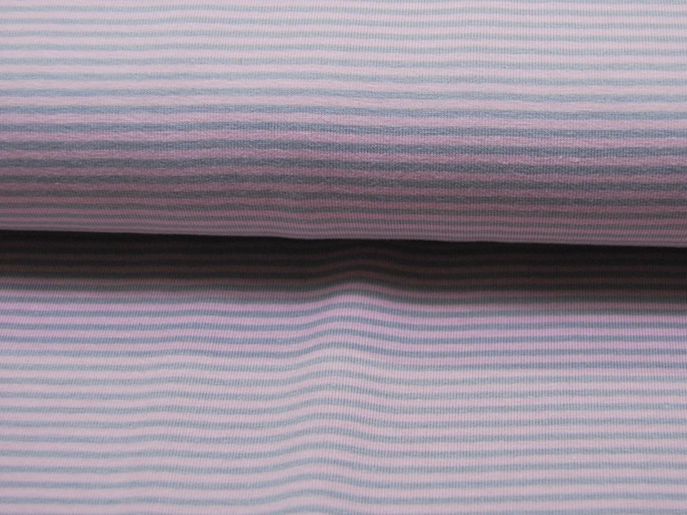 Jersey - Streifen Rosa-Grau - 05