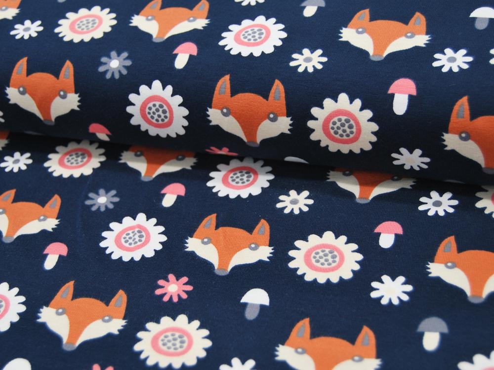 Jersey Fuchsköpfe und Blumen auf Dunkelblau