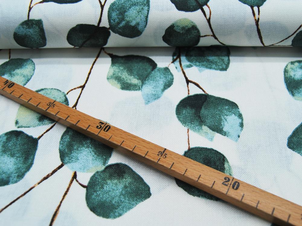Dekostoff Eukalyptus auf Weiß Emma 05m