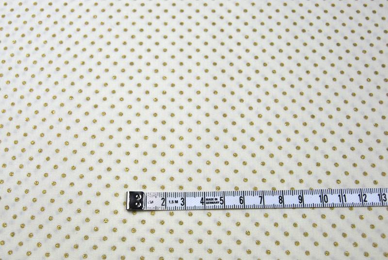 Weiße Baumwolle mit Punkten in Gold - 50 cm