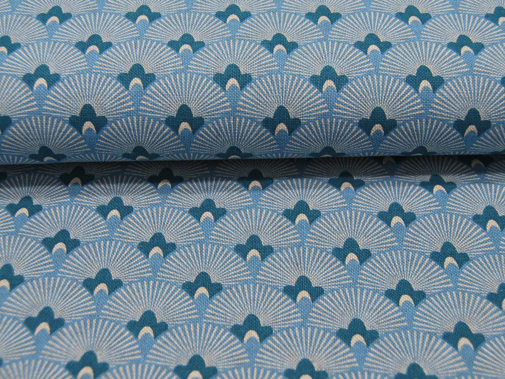 Dekostoff - Fächermuster auf Blau -