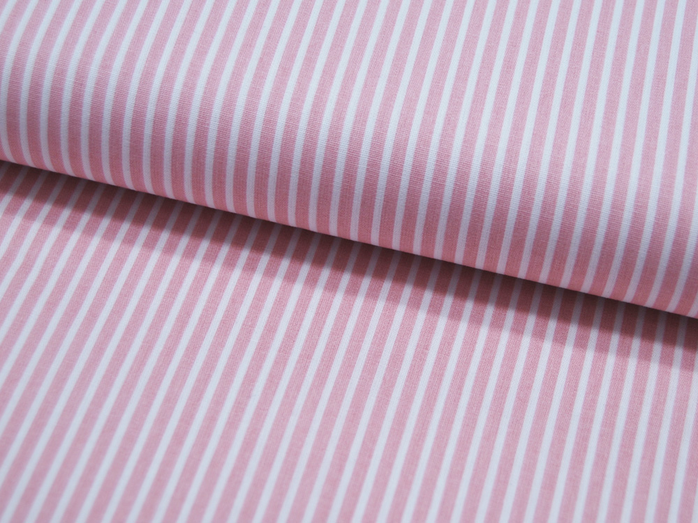 Baumwolle - Stripe - Altrosa-Weiss gestreift