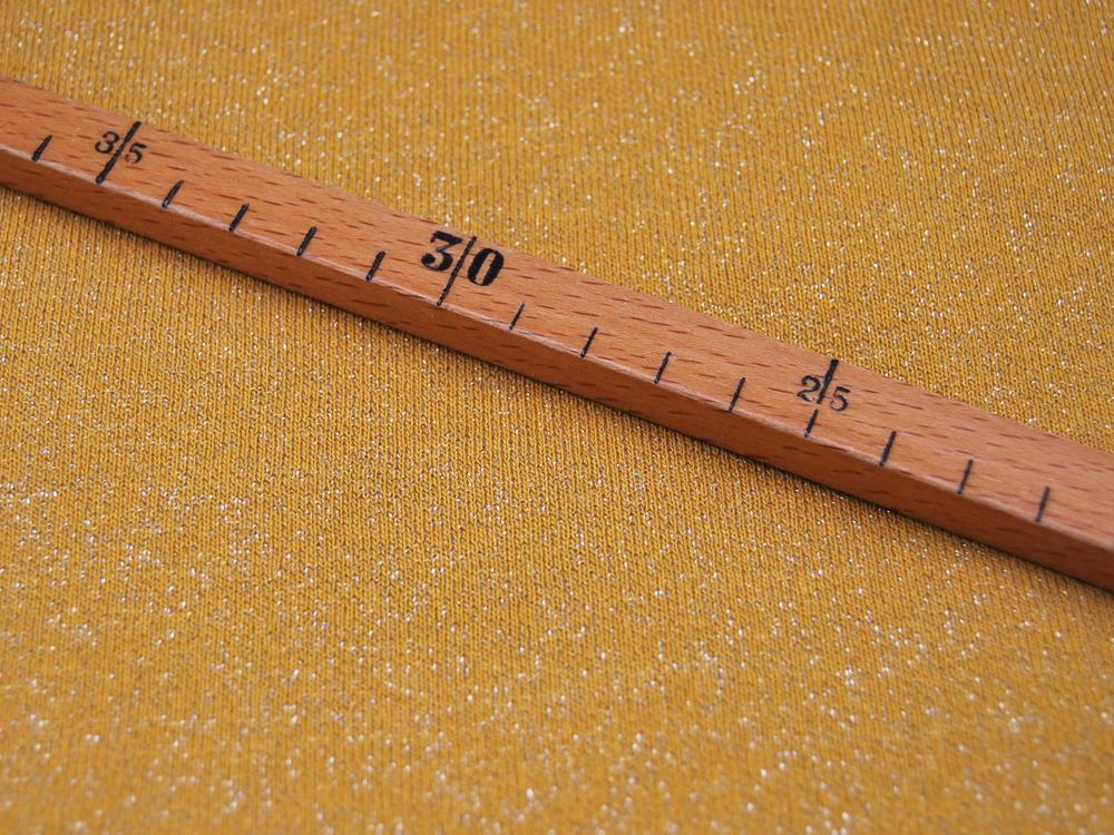 French Terry Glitter Ocker Senf Meter