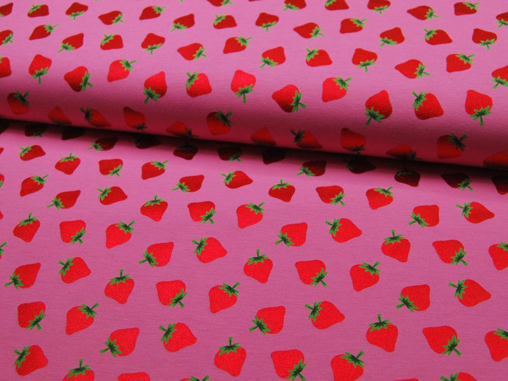 Jersey - Rote Glitzer Erdbeeren auf Rosa 0,5m - 1