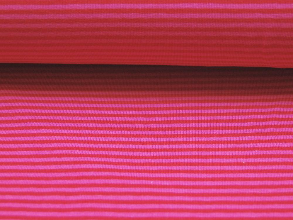 Jersey - Streifen Rot-Pink - 0.5 Meter