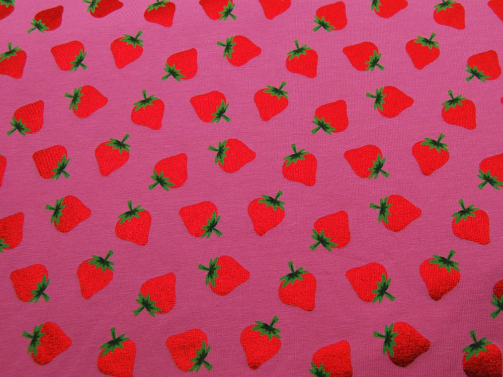 Jersey Rote Glitzer Erdbeeren auf Rosa - 2
