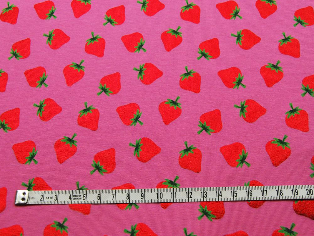 Jersey - Rote Glitzer Erdbeeren auf Rosa 0,5m - 3