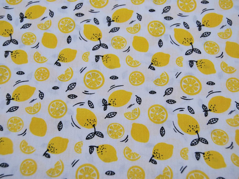 Baumwolle Lemons Zitronen auf Weiß 05m