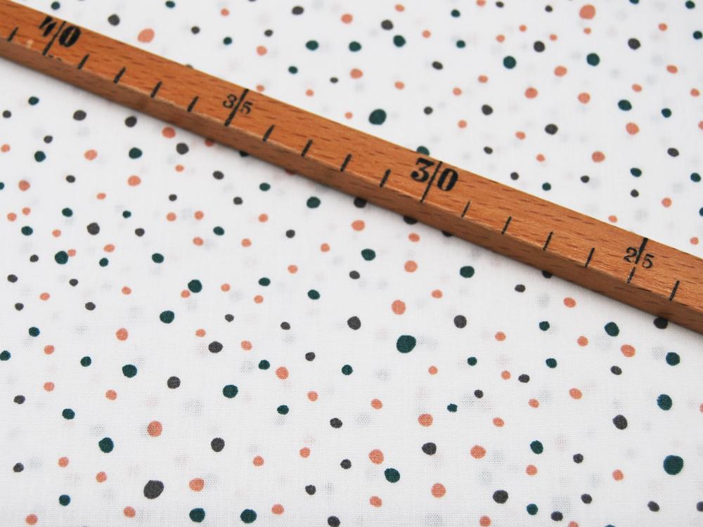 Baumwolle Konfetti Punkte auf Weiß 05m