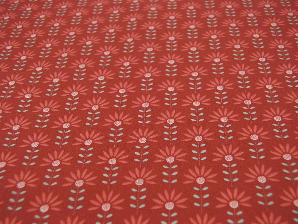 Beschichtete Baumwolle Graphic Flower auf Terracotta
