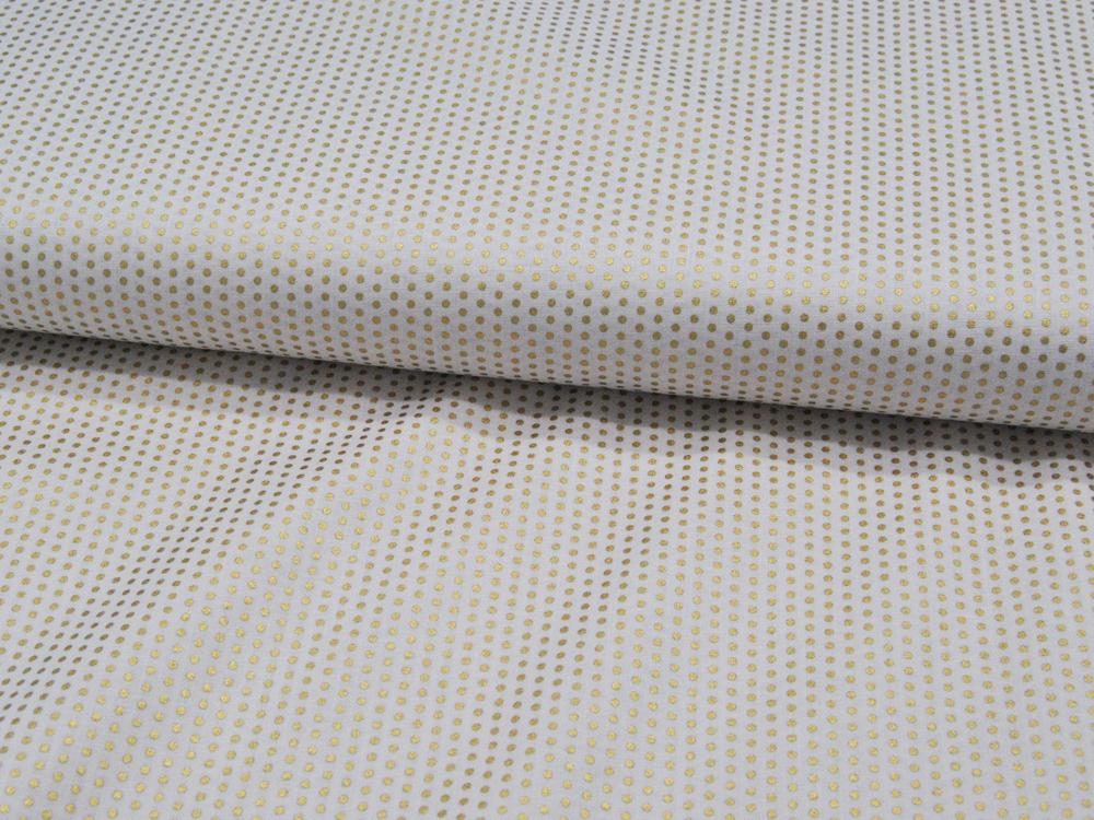 Goldene Punkte auf Cremeweiß - Baumwolle