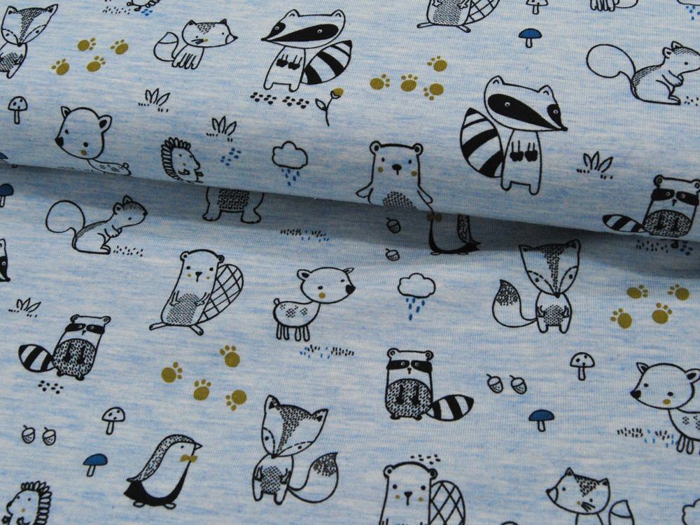 Jersey Waldtiere auf Hellblau meliert Meter