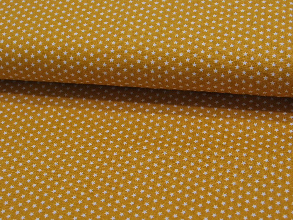 Mini Stars Sterne auf Ocker Baumwolle
