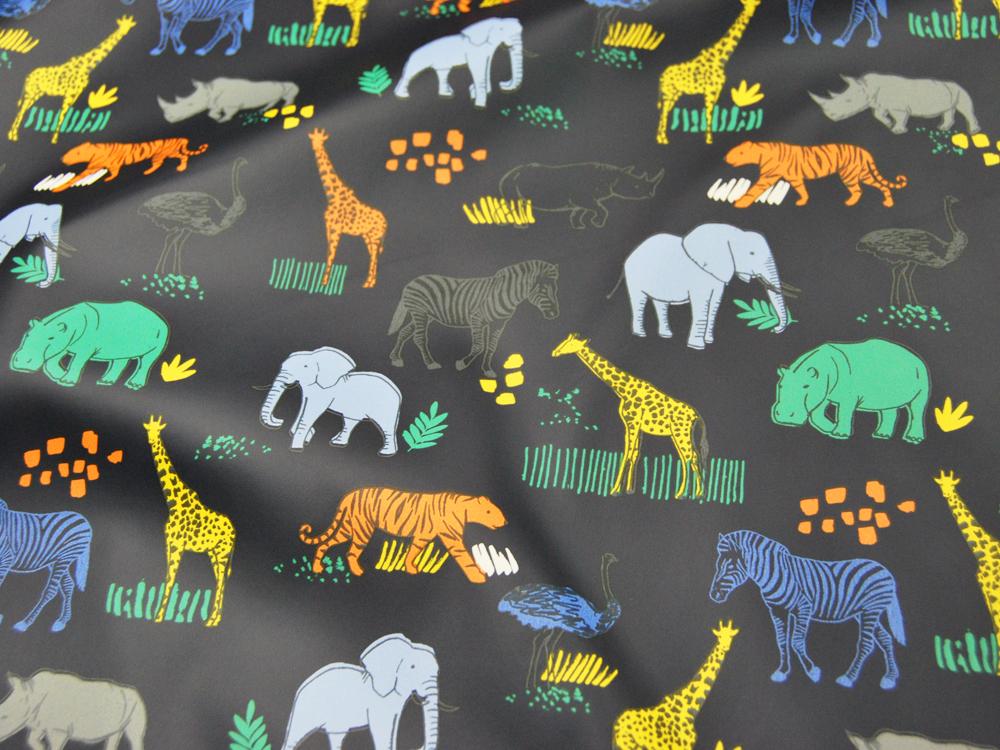 REGENJACKEN STOFF - Tiere auf Nachtblau - 50 x 140 cm - 4