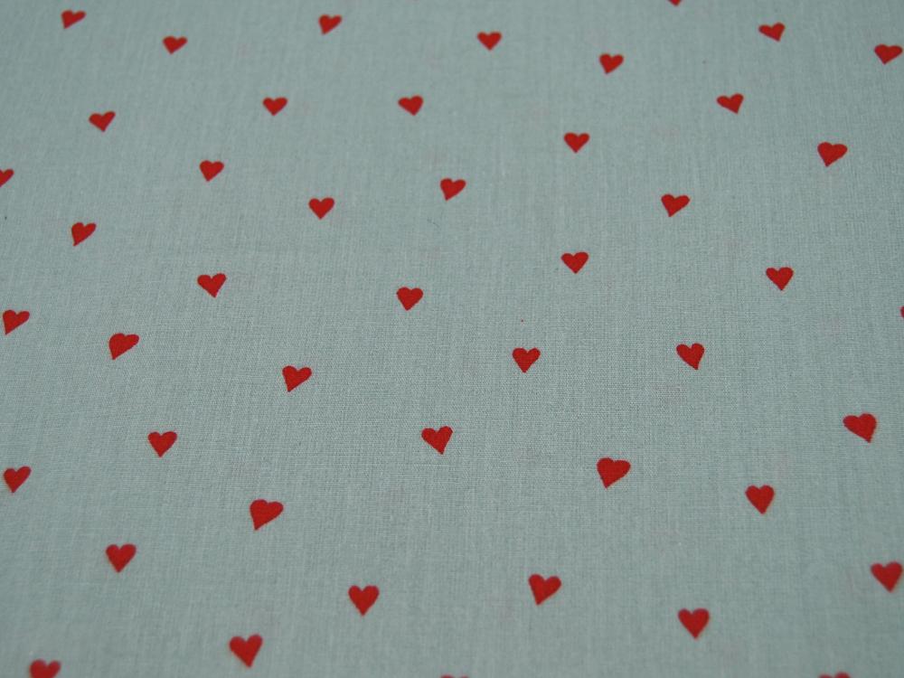Beschichtete Baumwolle Herzen Rot auf Mint