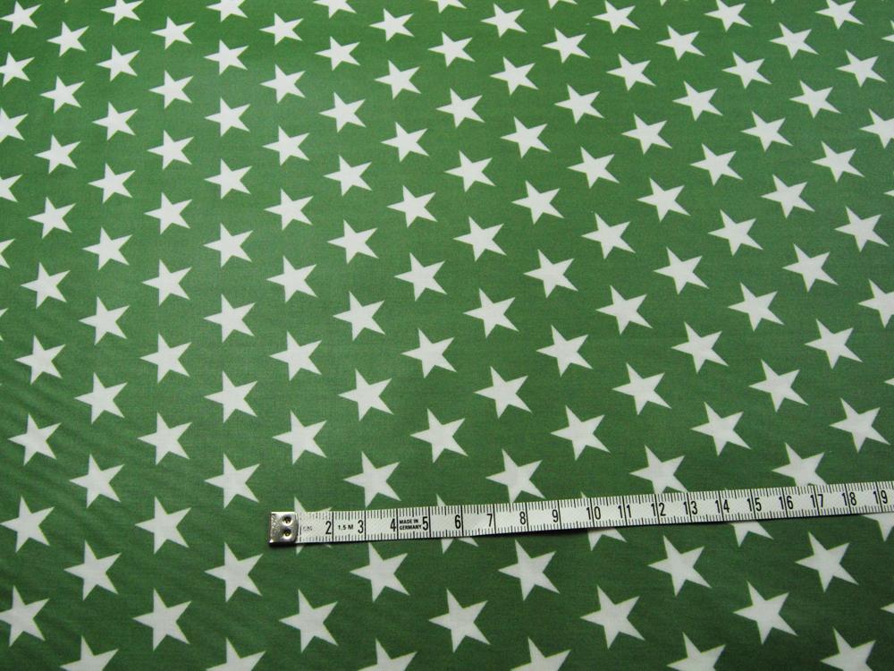 Beschichtete Baumwolle Sterne auf Waldgrün 140cm