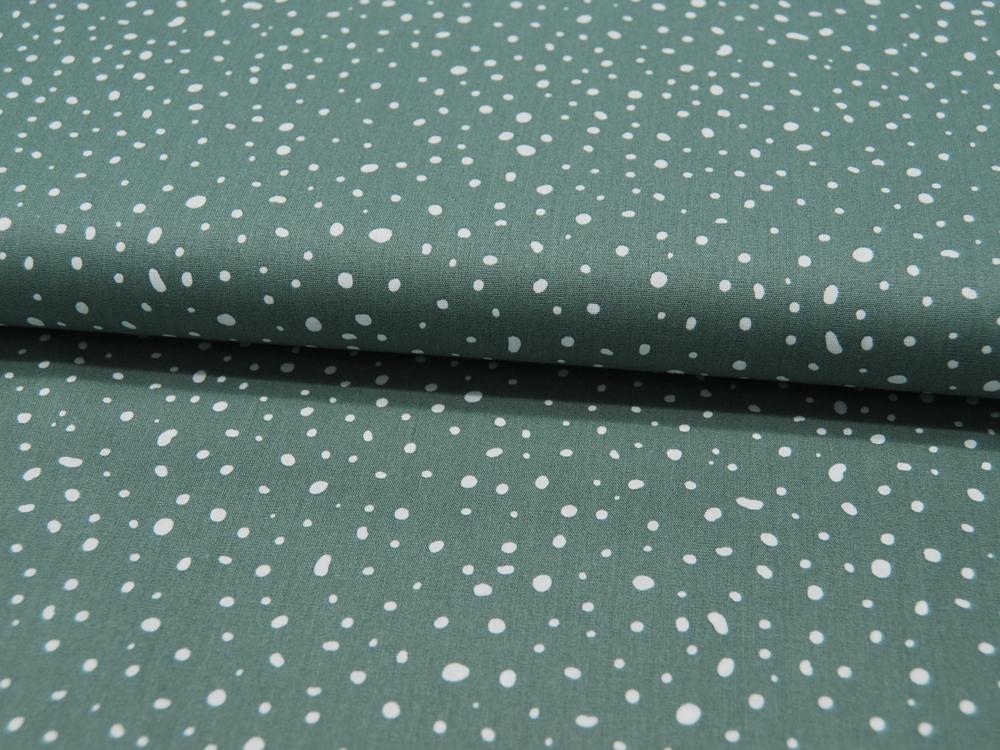 ORGANIC Baumwolle Punkte auf Dusty Mint