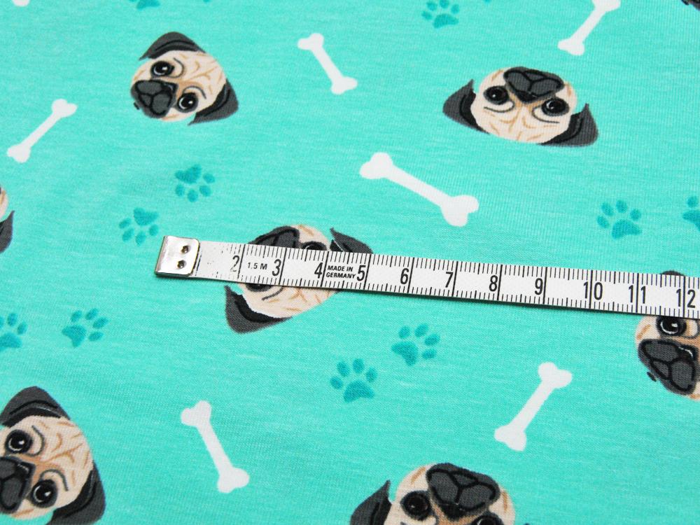 Jersey - Hundeköpfe auf Türkis - 0,5 m - 2
