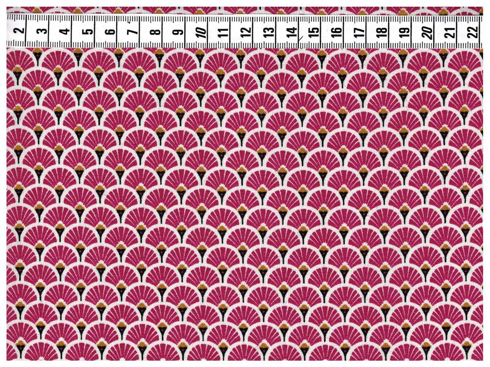 Beschichtete Baumwolle - Fächermuster Bordeaux 50 x75 cm - 2