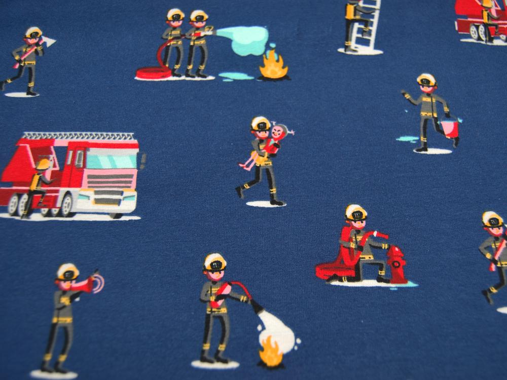 Jersey Feuerwehrleute und Fahrzeuge auf Dunkelblau