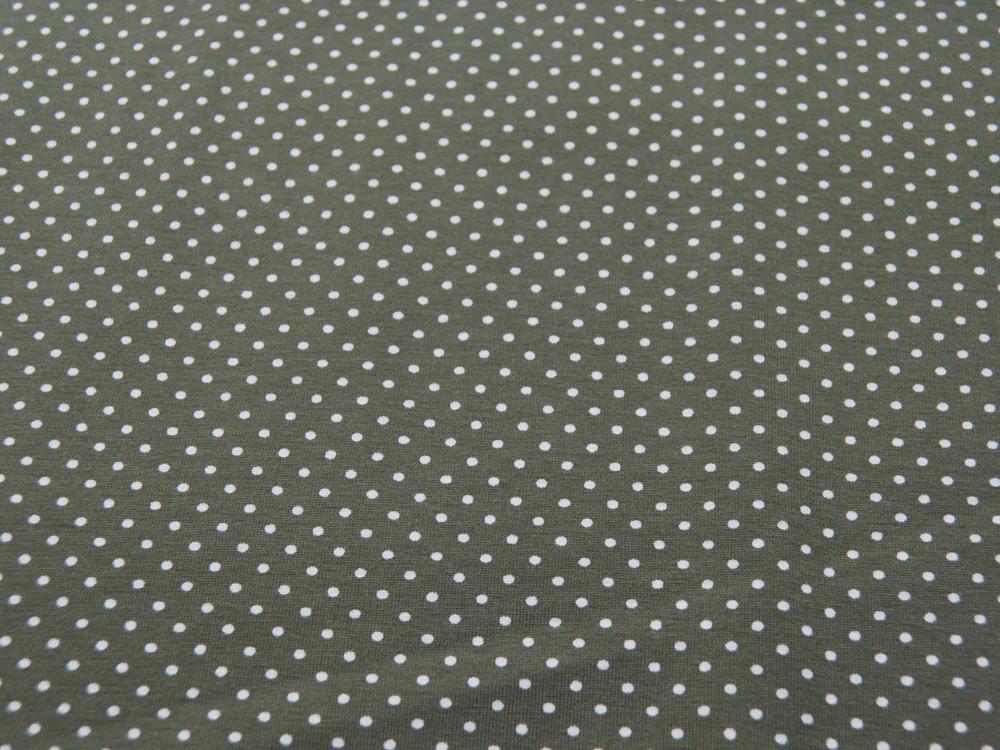 JERSEY - Olivgrün mit weißen Punkten