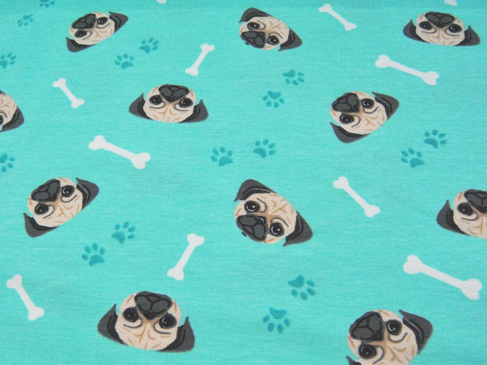 Jersey - Hundeköpfe auf Türkis -