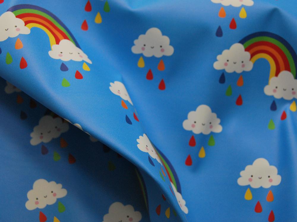 REGENJACKEN STOFF - Regenbogen und Wolken - 50 x 140 cm - 1
