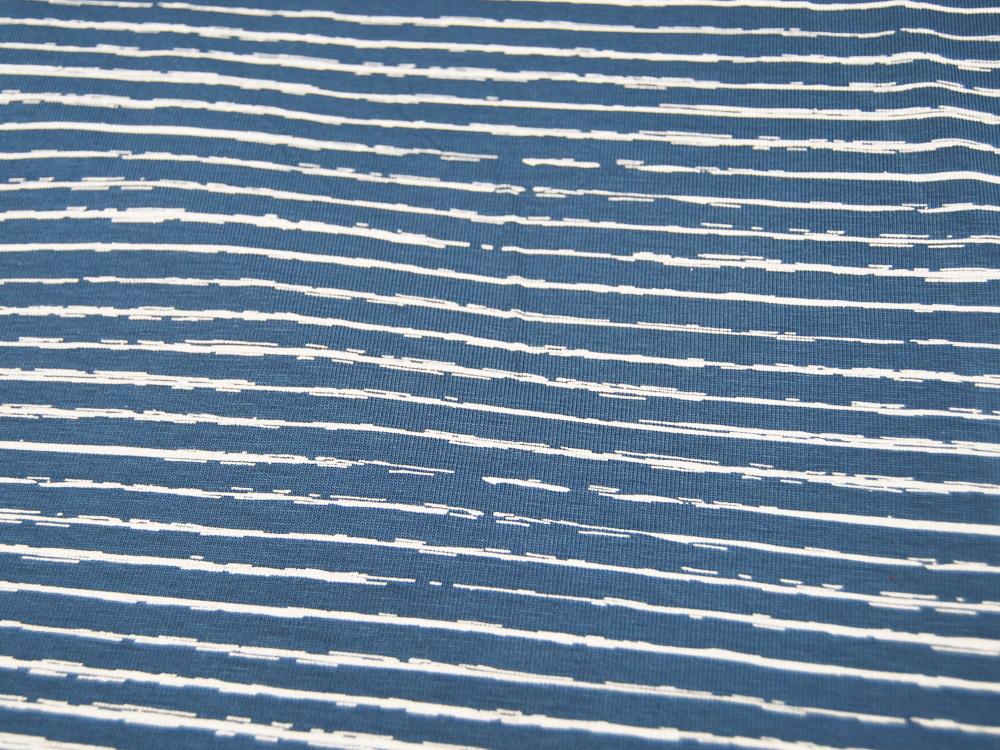 Jersey Streifen in Jeansblau Jeans Weiß