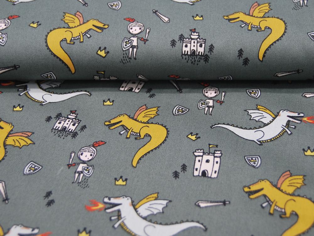 Baumwolle Fighting Dragons Drachen und Ritter