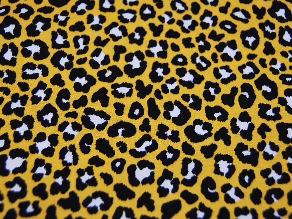Baumwolle - Leopardenmuster auf Gelb -