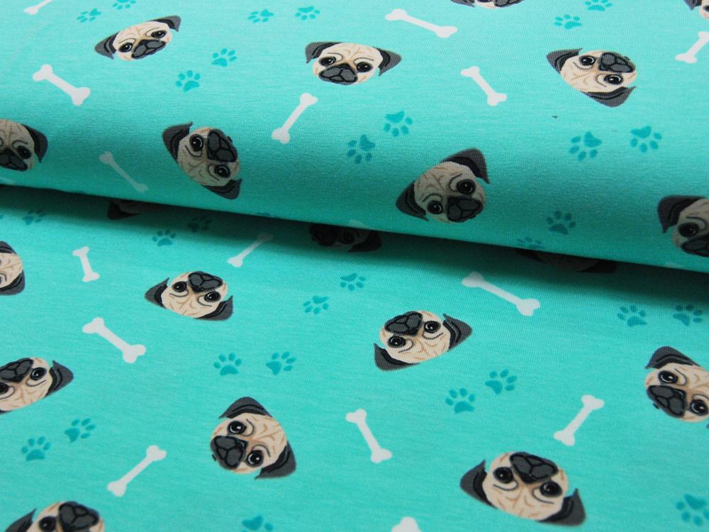 Jersey - Hundeköpfe auf Türkis - 0,5 m - 3