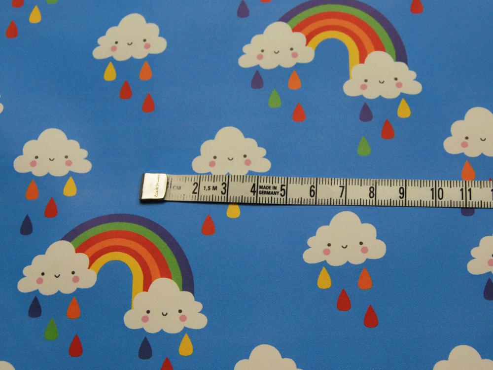 REGENJACKEN STOFF - Regenbogen und Wolken - 50 x 140 cm - 2