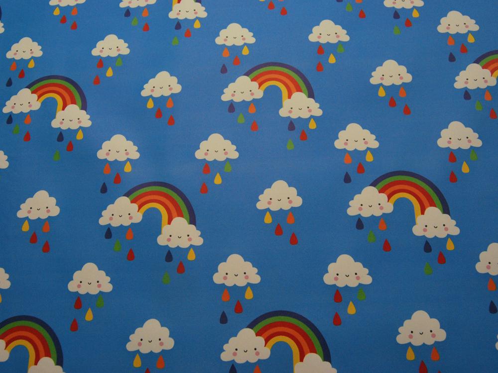 REGENJACKEN STOFF - Regenbogen und Wolken - 50 x 140 cm - 3