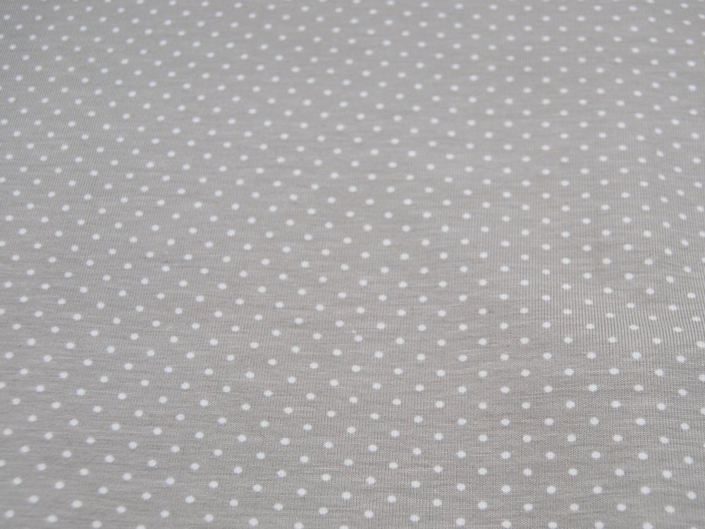 JERSEY Hellbeige mit weißen Punkten Meter