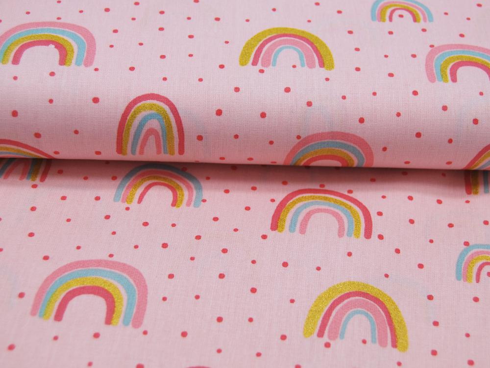 Baumwolle Glitter Rainbow Regenbogen auf Rosa
