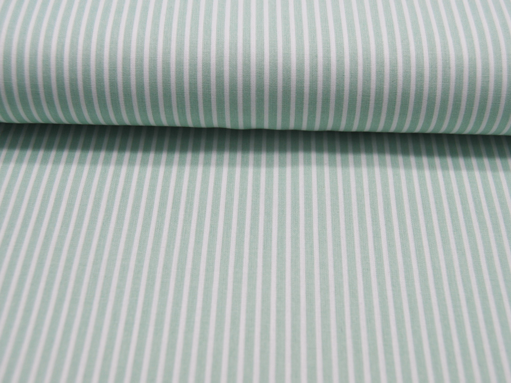 Baumwolle - Stripe - Mint-Weiss gestreift