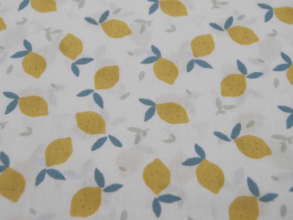 ORGANIC Baumwolle Lemon Zitrone auf Ecru