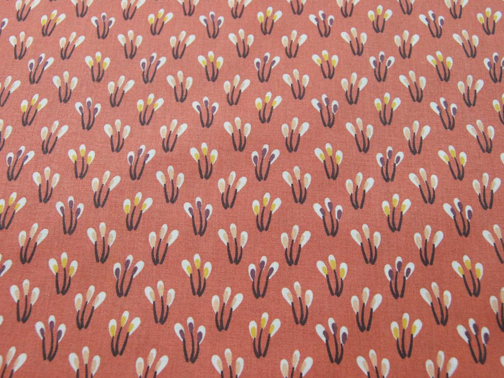 Beschichtete Baumwolle Blüten auf Matt Apricot