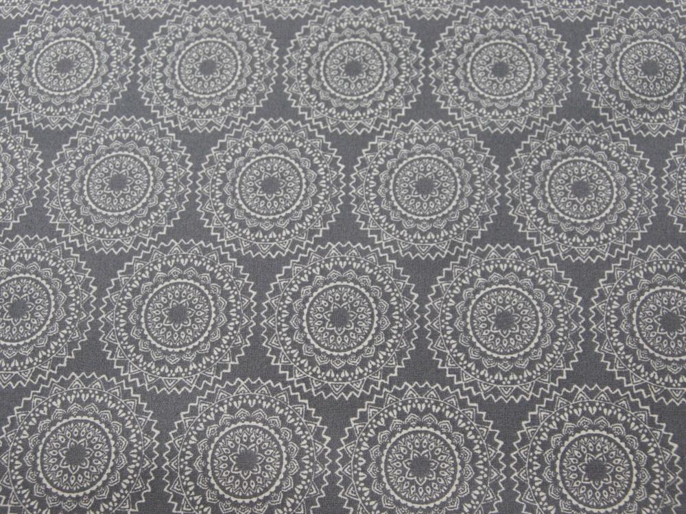 Beschichtete Baumwolle - Ornamente Grau/Weiß 50x65 cm - 1