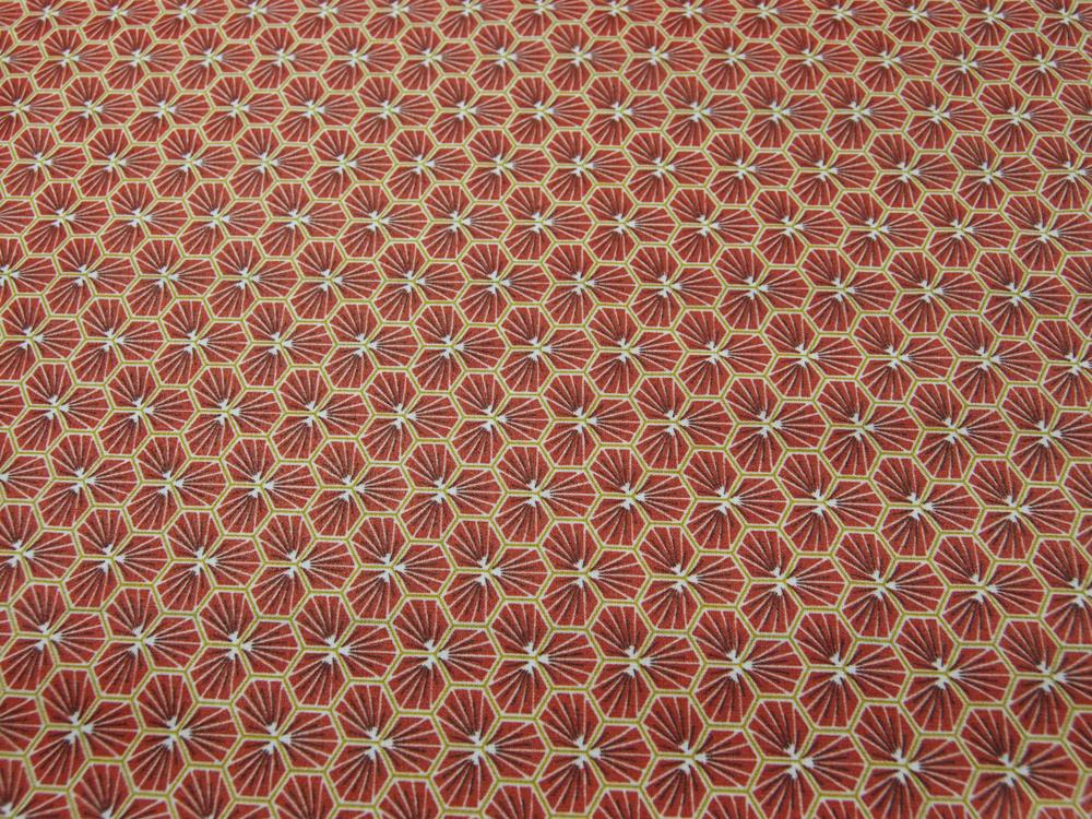 Beschichtete Baumwolle Honigwaben BURGUNDY - 50 - 1
