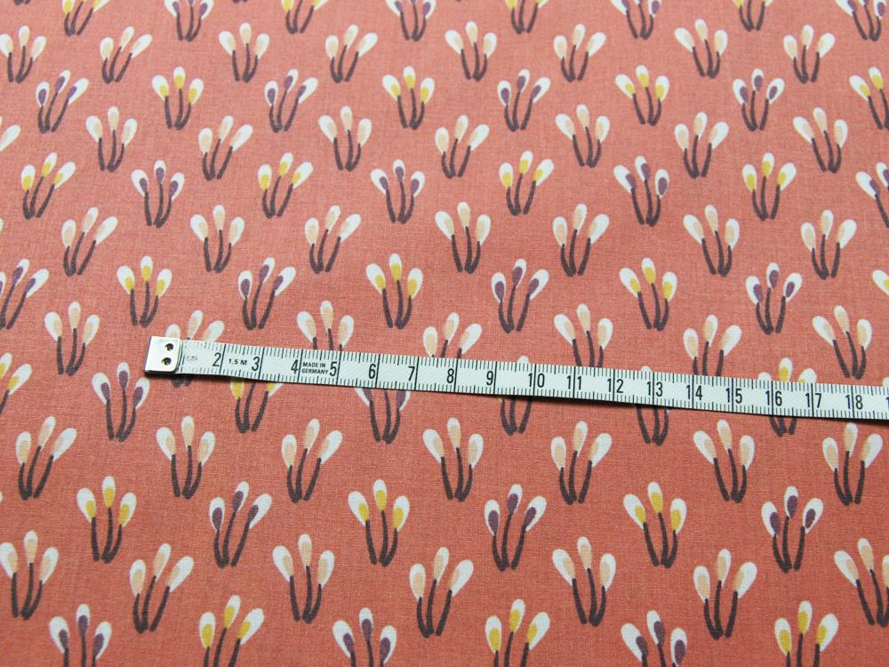 Beschichtete Baumwolle - Blüten auf Matt Apricot 50 x75 cm - 2