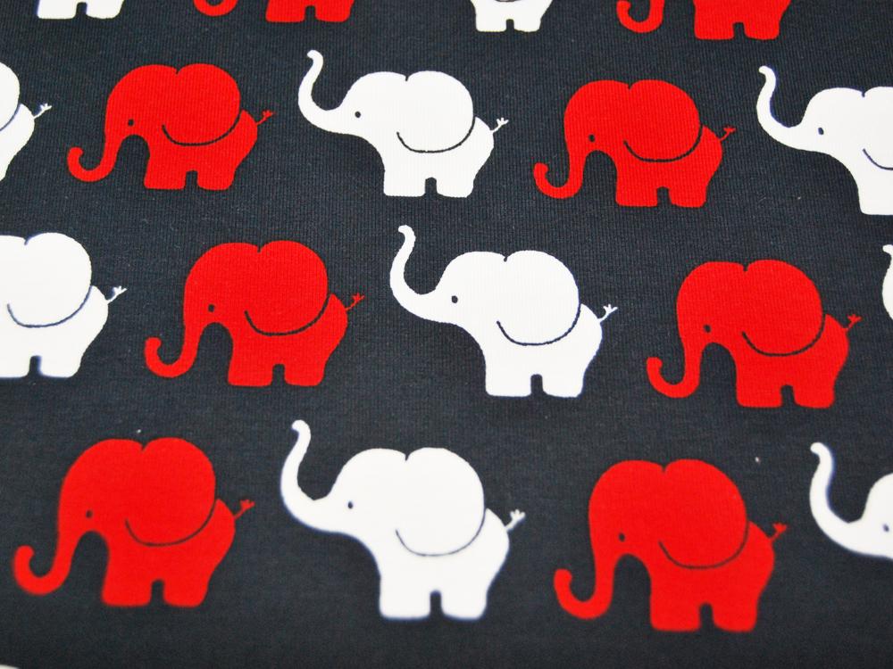 Jersey - Elephant Parade in Rot-Weiß auf Nachtblau - 0,5 Meter