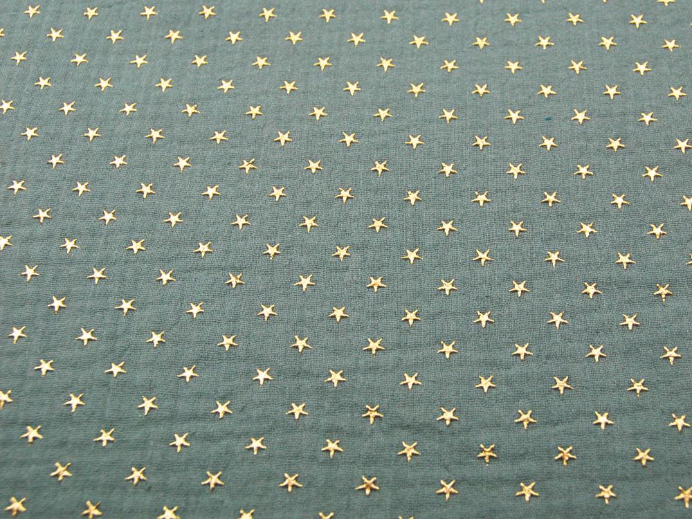 Musselin/Double Gauze Gold Star blasses Olivgrün
